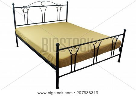 Double bed yellow bed linen on a white background isolation