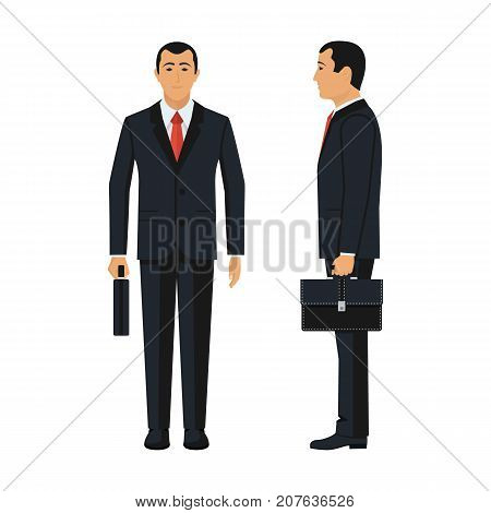 Two businessmen front and profile. Businessman holding briefcase isolated on white background. Vector illustration flat design. Male cartoon character. Office manager in suit. Confident man.