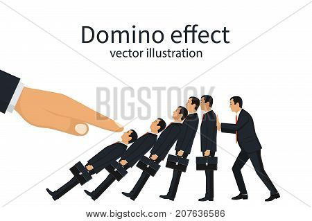 Domino effect concept. Big hand pushes businessmen standing in row. Human stops fall. Stopping chain reaction intervention. Vector illustration flat design. Isolated on white background.
