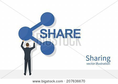 Businessman is holding hand sharing. Icon share. Vector illustration flat design. Isolated on white background. Social media concept. Modern digital technologies.