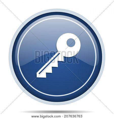 Key blue round web icon. Circle isolated internet button for webdesign and smartphone applications.