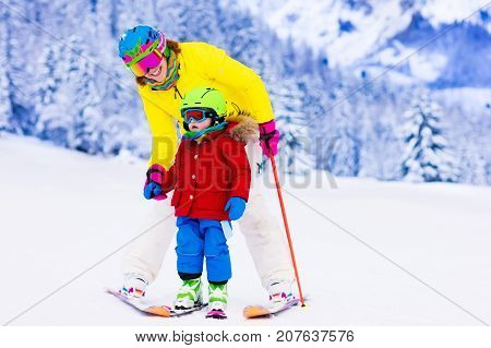 Family Ski And Snow Fun In Winter Mountains