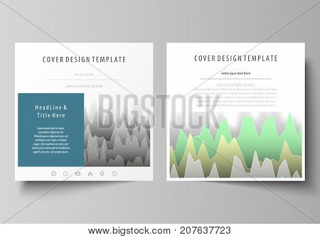 The minimalistic vector illustration of the editable layout of two square format covers design templates for brochure, flyer, magazine. Rows of colored diagram with peaks of different height
