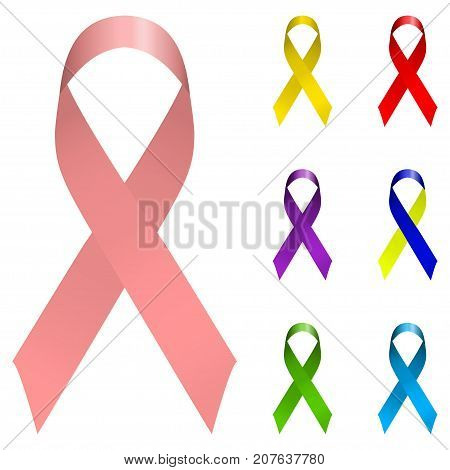 Vector ribbon holiday set. Bright colorful Icon logo collection isolated on white background. Breast canser awarness, world aids day, down syndrome symbols