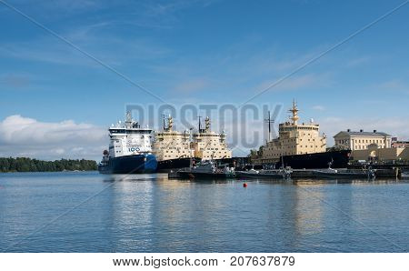 HELSINKI, FINLAND - SEPTEMBER 11:  ICe breaking ships on September 11, 2017 in Helsinki, Finland. The ships are built in Finland.