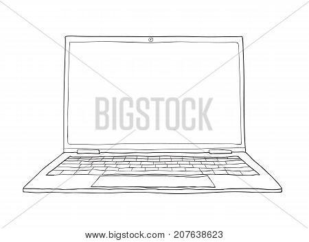 laptop hand drawn cute vector line art illustration