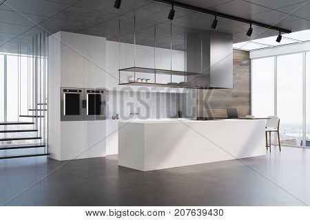 White Kitchen Counter, Side View