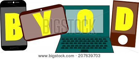 BYOD word text logo Illustration. Multiple devices networking concept isolated flat vector. Transparent.