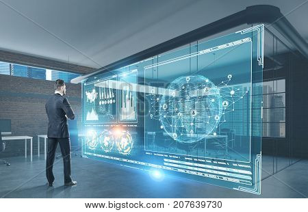 Businessman standing with crossed arms and studying HUD holograms and data in his office. Concept of the future. 3d rendering toned image double exposure