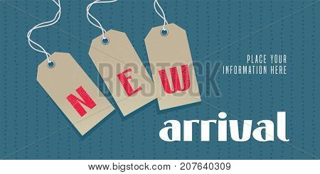 New arrival vector illustration, banner. Design element with price and novelty tags for retail promo with new collection arriving soon