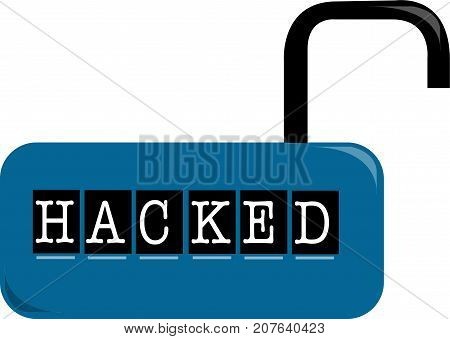 Hacked word text logo Illustration. Open padlock concept isolated flat vector. Transparent.