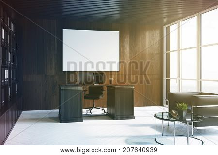 Dark Wood Ceo Office Interior, Poster, Side Toned