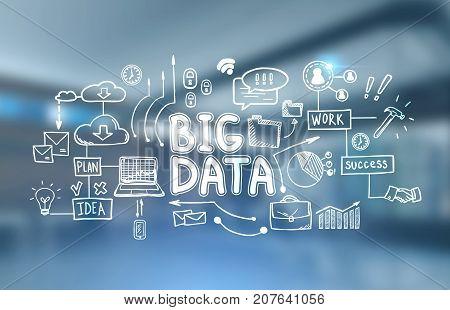 White big data sketch drawn against a blurred office background. Concept of hi tech and innovation in business and production. Toned image