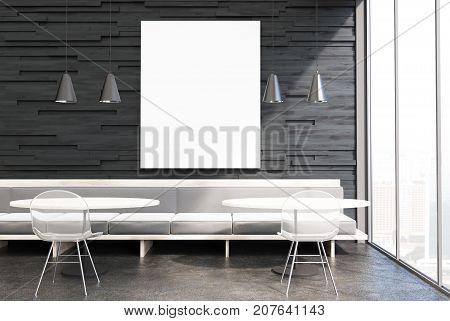 Black Cafe Interior, Gray Sofas, Poster