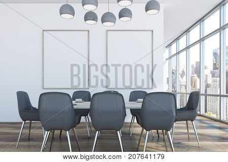 Dining Room With Two Posters, Gray Chairs