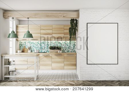 Upscale kitchen interior with green and white mosaic walls large windows an interesting floor pattern and wooden consoles and a table. A framed poster. 3d rendering mock up