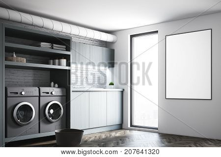 Gray Laundry Room, Gray Washing Machines, Poster