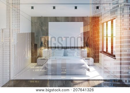 White And Wooden Bedroom Interior, Poster Toned
