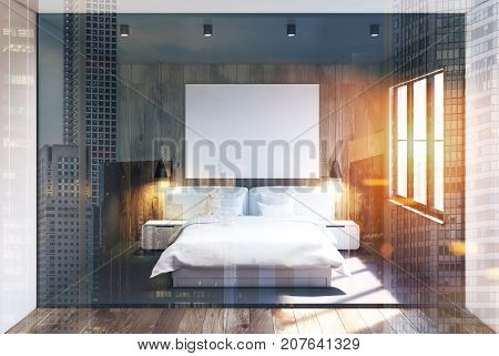 Gray And Wooden Bedroom Interior, Poster Toned