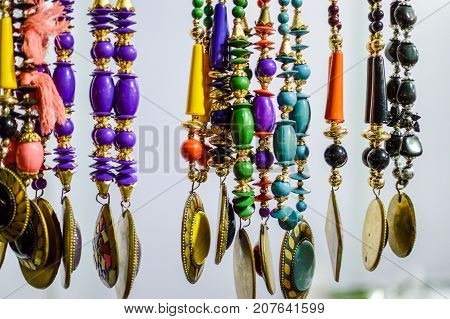 Beads and pendants on sale at a shop selling tantra items