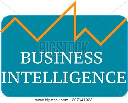Business intelligence word text logo Illustration. BI analysis concept isolated flat vector. Transparent.