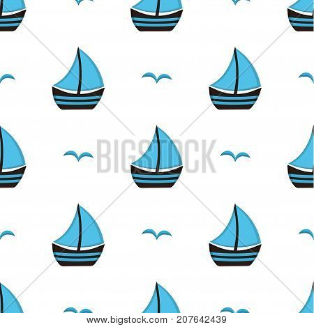 blue sailing boat with gulls on white background seamless pattern with sailing boat flying gulls