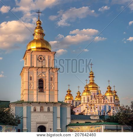 Reconstructed St. Michael's Golden-Domed Monastery shot at sunset Kiev, Ukraine.