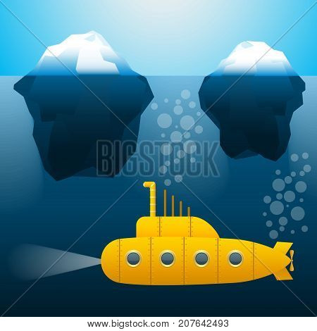 submarine under water. Icebergs. Cartoon style. Bright colors Vector illustration