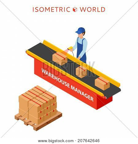 Warehouse manager or warehouse worker with bar code scanner checking goods on a conveyor belt. Flat 3d vector isometric illustration.