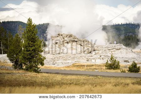 Castle Geyser on the Upper Geyser Basin next to Old Faithful at Yellowstone National Park