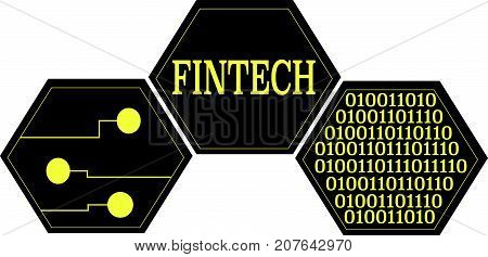 Fintech word text logo Illustration. Binary data connections concept isolated flat vector. Transparent.