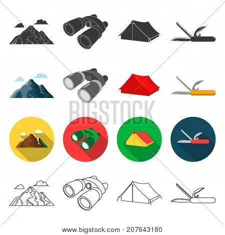 tourism, nature, recreation and other  icon in different style.attributes, travel, hike icons in set collection.