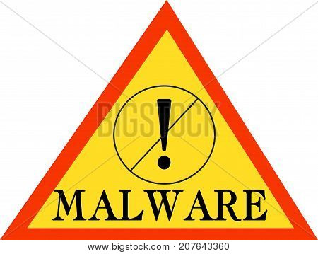 Malware word text logo Illustration. Internet security concept isolated flat vector. Transparent.