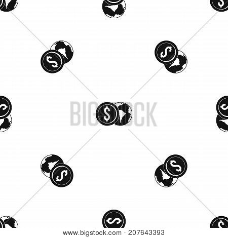World planet and dollar coin pattern repeat seamless in black color for any design. Vector geometric illustration