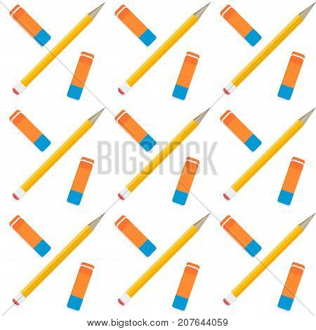 Pencil and eraser seamless pattern. Vector background school pencil and eraser illustration