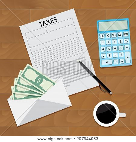 Salary tax top view concept. Salary increase and paycheck vector money compensation tax income and salary survey illustration