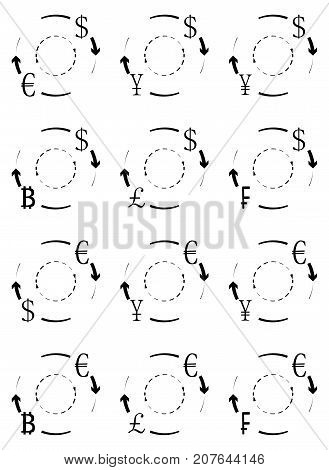 Currency exchange and conversion icons of set. Vector of exchange icon symbol money exchange change and barter give and take illustration