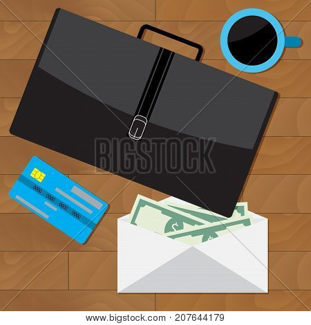 Salary and wage business concept overhead style. Vector compensation and income money illustration of salary survey