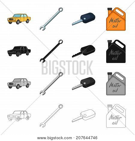 Yellow car, wrench, ignition key, canister of engine oil. Car and accessories set collection icons in cartoon black monochrome outline style vector symbol stock Isometric illustration .