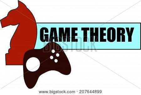 Game Theory word text logo Illustration. A knight and gaming remote concept isolated flat vector. Transparent.
