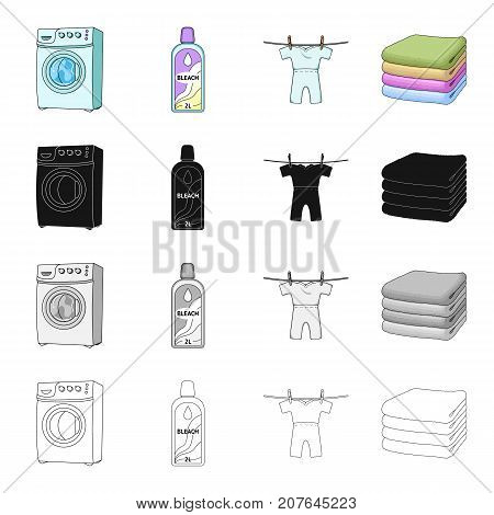 Washing machine, bottle of bleach, drying children's clothes, a stack of clean linen. Washing and cleaning set collection icons in cartoon black monochrome outline style vector symbol stock Isometric illustration .