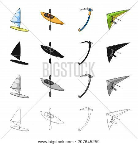 Surfing, kayak with an oar, an ice climber of an alpinist, a sport hang glider. Extreme sport set collection icons in cartoon black monochrome outline style vector symbol stock Isometric illustration .