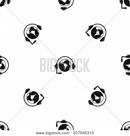 World planet and headset pattern repeat seamless in black color for any design. Vector geometric illustration
