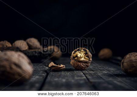 Walnut Walnuts On Rustic Old Wooden Table