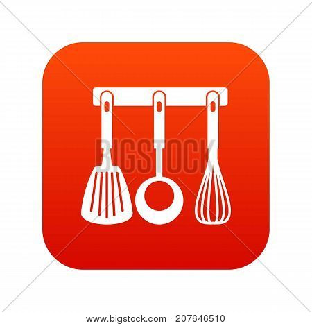 Spatula, ladle and whisk, kitchen tools on a hanger icon digital red for any design isolated on white vector illustration
