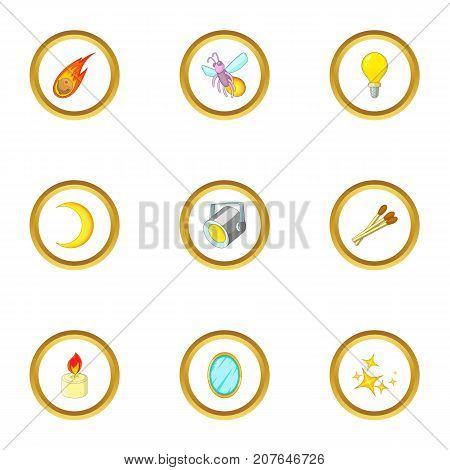 Light source icons set. Cartoon style set of 9 light source vector icons for web design