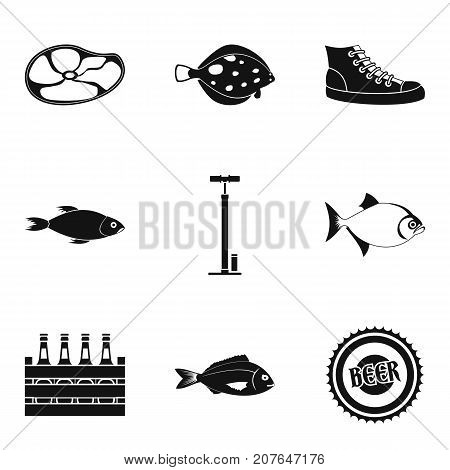 Fish recipe icons set. Simple set of 9 fish recipe vector icons for web isolated on white background