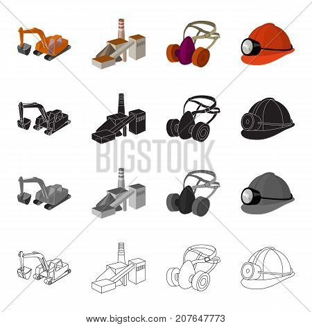 Mountain excavator, mine building, protective respirator, helmet miner. Mining industry set collection icons in cartoon black monochrome outline style vector symbol stock isometric illustration .