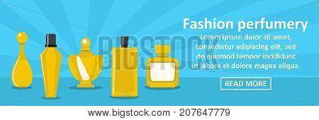 Fashion perfumery banner horizontal concept. Flat illustration of fashion perfumery banner horizontal vector concept for web design