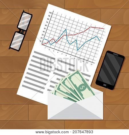 Analysis of payroll salary. Payroll salary accounting bookkeeping money vector illustration